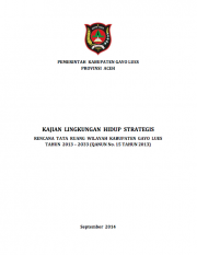 Strategic Environmental Assessments: Gayo Lues (Only Available in Bahasa Indonesia)
