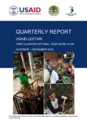 USAID LESTARI Quarterly Report: Firts Quarter of Year 5 Work Plan (October – December 2019)
